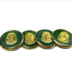 Vintage Set 4 Golf Coasters 1970s Lacquer Office